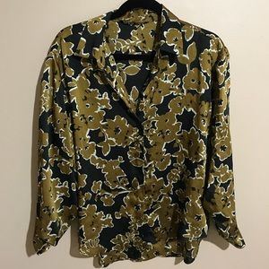 Zara Gold and Black Floral Button Up Blouse